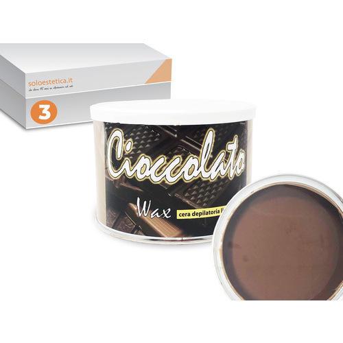 Cera epilazione cioccolato 3 vasetti da 400 ml. liposolubile