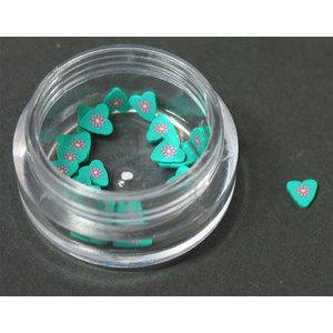 Decoro motivo cuore con fiore 3D verde LP cod. 7050