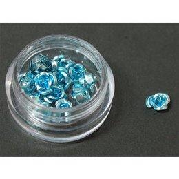 Decori per unghie in metallo a forma di rosellina. Colore azzurro.