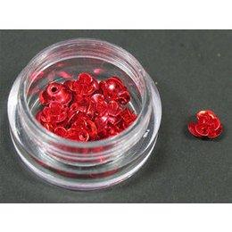 Decori per unghie in metallo a forma di rosellina. Colore rosso.
