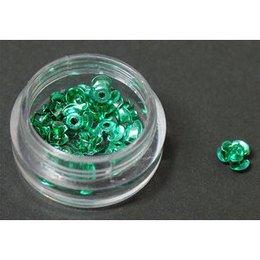 Decori per unghie in metallo a forma di rosellina. Colore verde.