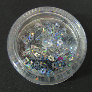 Decori per unghie quadratini forati argento iridescente 7201