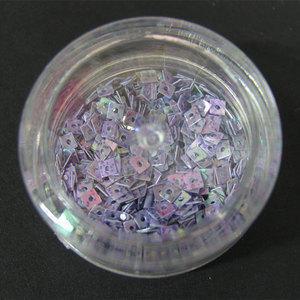Decori per unghie quadratini forati lilla con macchie viola 7234