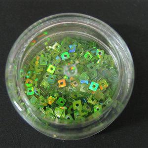 Decori per unghie quadratini forati verde iridescente 7192