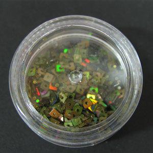 Decori per unghie quadratini forati verde salvia iridescente 7197