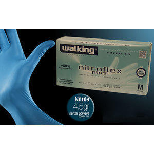 Guanti Nitroflex Plus Walking senza polvere misura Media 100 pz.