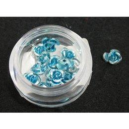 Decori per unghie in metallo a forma di rosellina. celeste sfumato