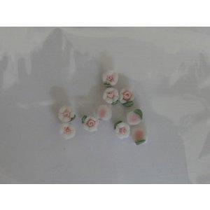 Decoro per unghie roselline 3D mini bianco