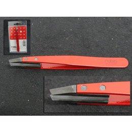 Pinzetta Rubis obliqua rossa punta carbonio Art 1kS106