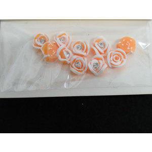 Roselline 3D albicocca con bordo bianco e brillantino