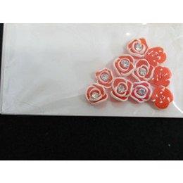 Roselline 3D arancio con bordo bianco e brillantino
