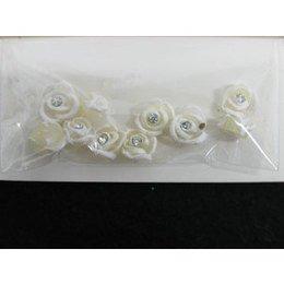 Roselline 3D bianco perla con bordo bianco e brillantino