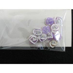 Roselline 3D lilla con bordo bianco e brillantino