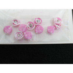 Roselline 3D rosa con bordo bianco e brillantino