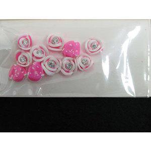 Roselline 3D rosa confetto con bordo bianco e brillantino