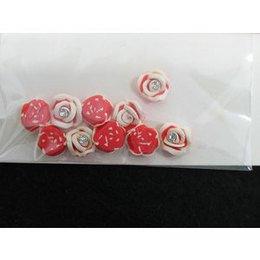 Roselline 3D rosso con bordo bianco e brillantino