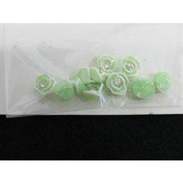 Roselline 3D verde chiaro con bordo bianco e brillantino