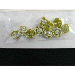 Roselline 3D verde scuro con bordo bianco e brillantino