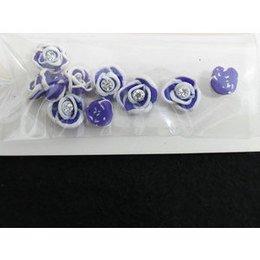 Roselline 3D viola con bordo bianco e brillantino