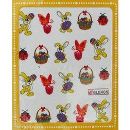 Sticker adesivi uova di Pasqua, coniglietto e farfalla cod. BLE405