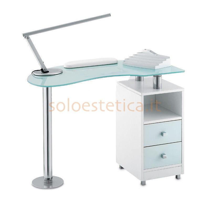 Tavolo manicure wood 486l piano in vetro bianco satinato for Tavolo vetro satinato