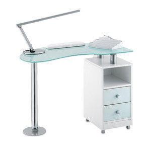 Tavolo Manicure Wood 486L piano in vetro bianco satinato, mobile bianco
