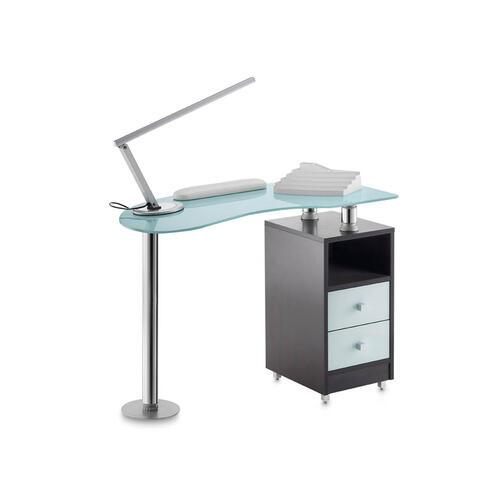 Tavolo Manicure Wood 486L piano in vetro bianco satinato, mobile wengee
