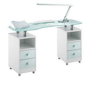 Tavolo Manicure Wood 489L piano in vetro bianco satinato, mobile wengee