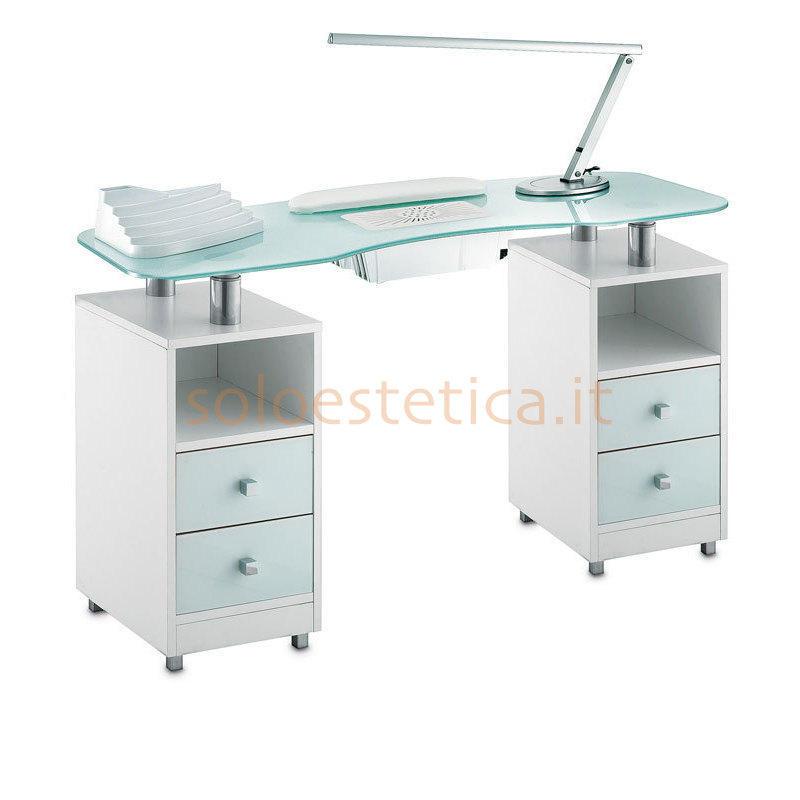 Tavolo Manicure Wood 489LX piano in vetro bianco satinato, mobile bianco