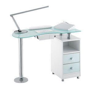 Tavolo Manicure Wood con aspiratore 486LX piano in vetro bianco satinato, mobile wengee