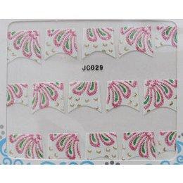Decori 2D petali rosa e verdi JC029