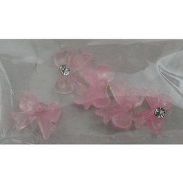 Decoro fiocco 3D con brillantino colore rosa