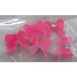 Decoro fiocco 3D con brillantino colore rosa scuro