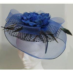 Ornamento per capelli con Piume Nere e retina Blu con fiore