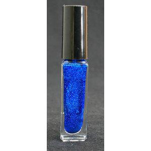 Smalto decoro unghie USA base acqua blu glitterato pennello sottile