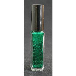 Smalto decoro unghie USA base acqua verde glitterato pennello sottile