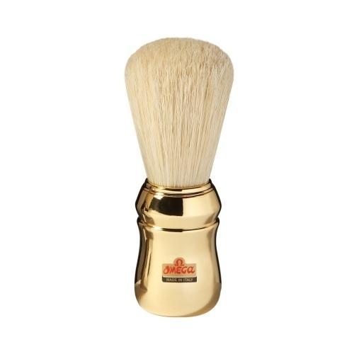 Pennello da Barba professionale Omega manico oro 20480