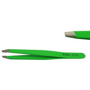 Pinzetta ciglia Estas acciaio inox Fluo Green