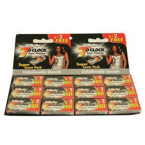 Lamette Gillette 7 O'Clock Super Platinum Stecca 12 pacchetti da 5 + 2 lame