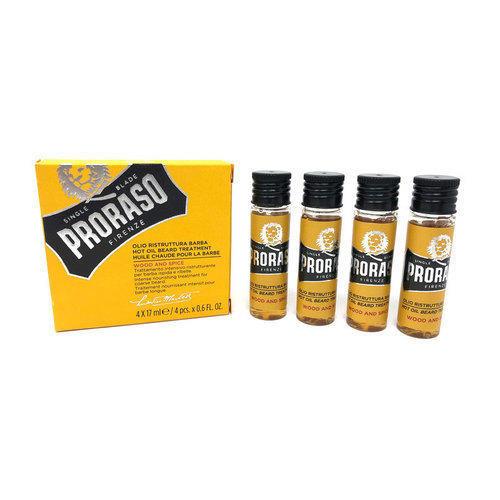 Olio Ristruttura Barba Wood and Spice Proraso 4 fiale da 17 ml.