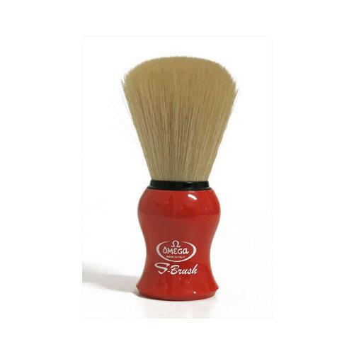 Pennello da barba in fibra sintetica S-Brush Omega S10065 manico rosso