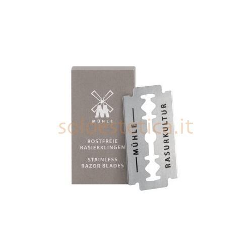 Lamette da barba double Edge di Muhle realizzate in acciaio inox di altissima qualità con una affilatura di precisione senza confronti.