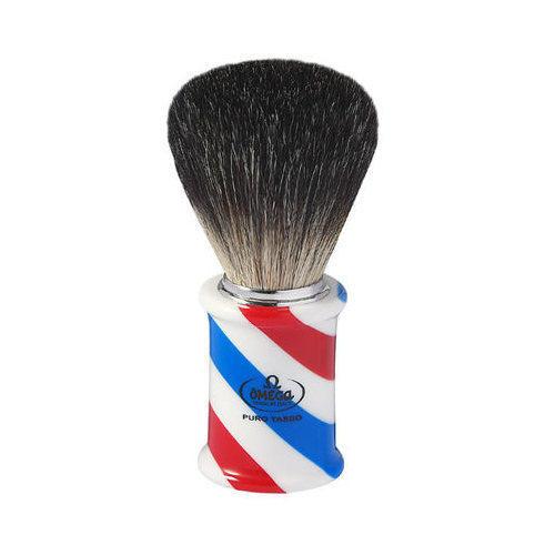"""Pennello da barba in tasso Nero """"BARBER POLE"""" Omega 6736"""