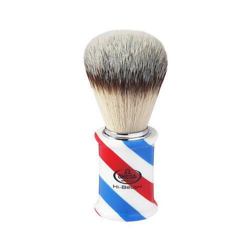 """Pennello da barba in fibra sintetica Hi-BRUSH """"BARBER POLE"""" Omega 46735"""