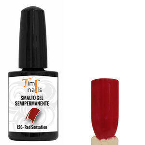 TN Smalto Gel Semipermanente nr. 126 Red Sensation 14 ml. Unghie Timi Nails