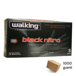 Guanti Black Nitro Walking senza polvere in Nitrile Small 1000 pz.