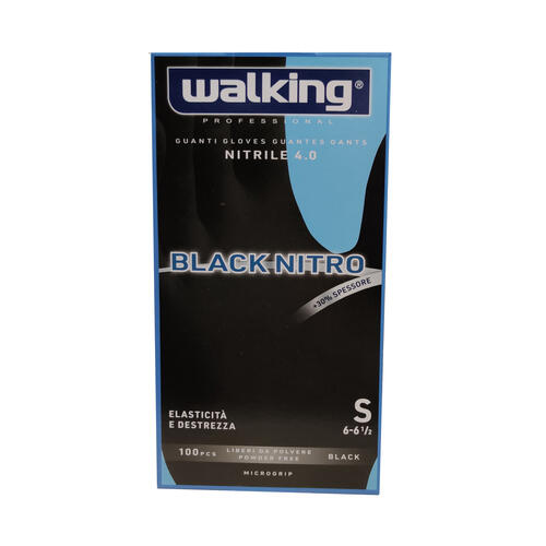 Guanti Black Nitro Walking senza polvere in Nitrile Small 100 pz.