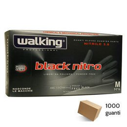 Guanti Black Nitro Walking senza polvere in Nitrile Media 1000 pz.
