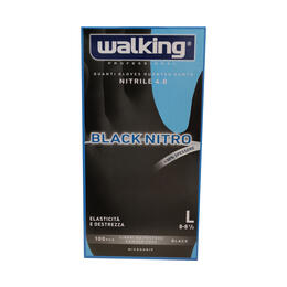 Guanti Black Nitro Walking senza polvere in Nitrile Large 100 pz.