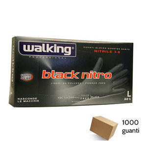 Guanti Black Nitro Walking senza polvere in Nitrile Large 1000 pz.